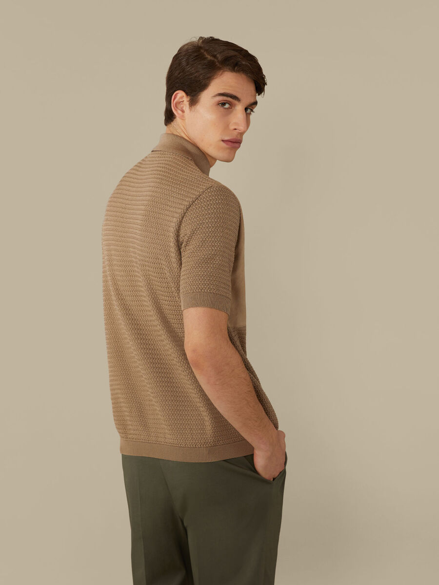 Regular-fit polo-shirt in cotton and suede