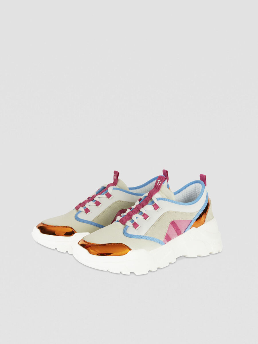 Colour-block faux leather running sneakers