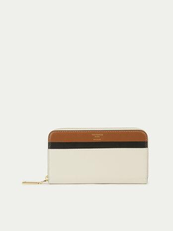 Multi coloured zip around leather purse