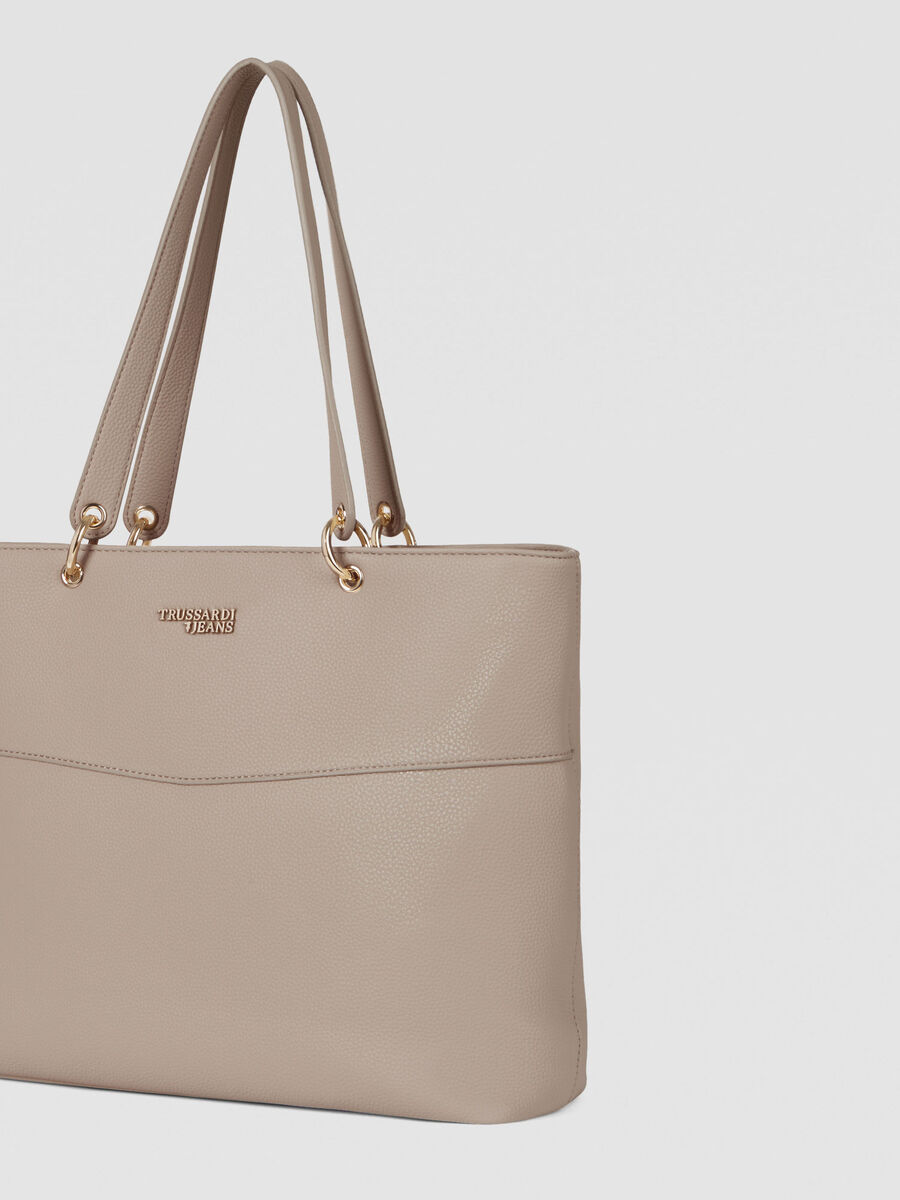 Large Charlotte shopper in textured faux leather