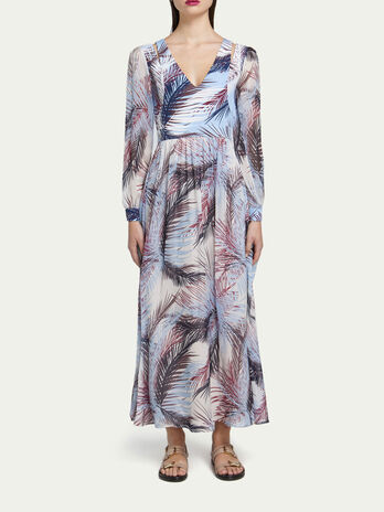 Long chiffon dress with multi coloured palm print