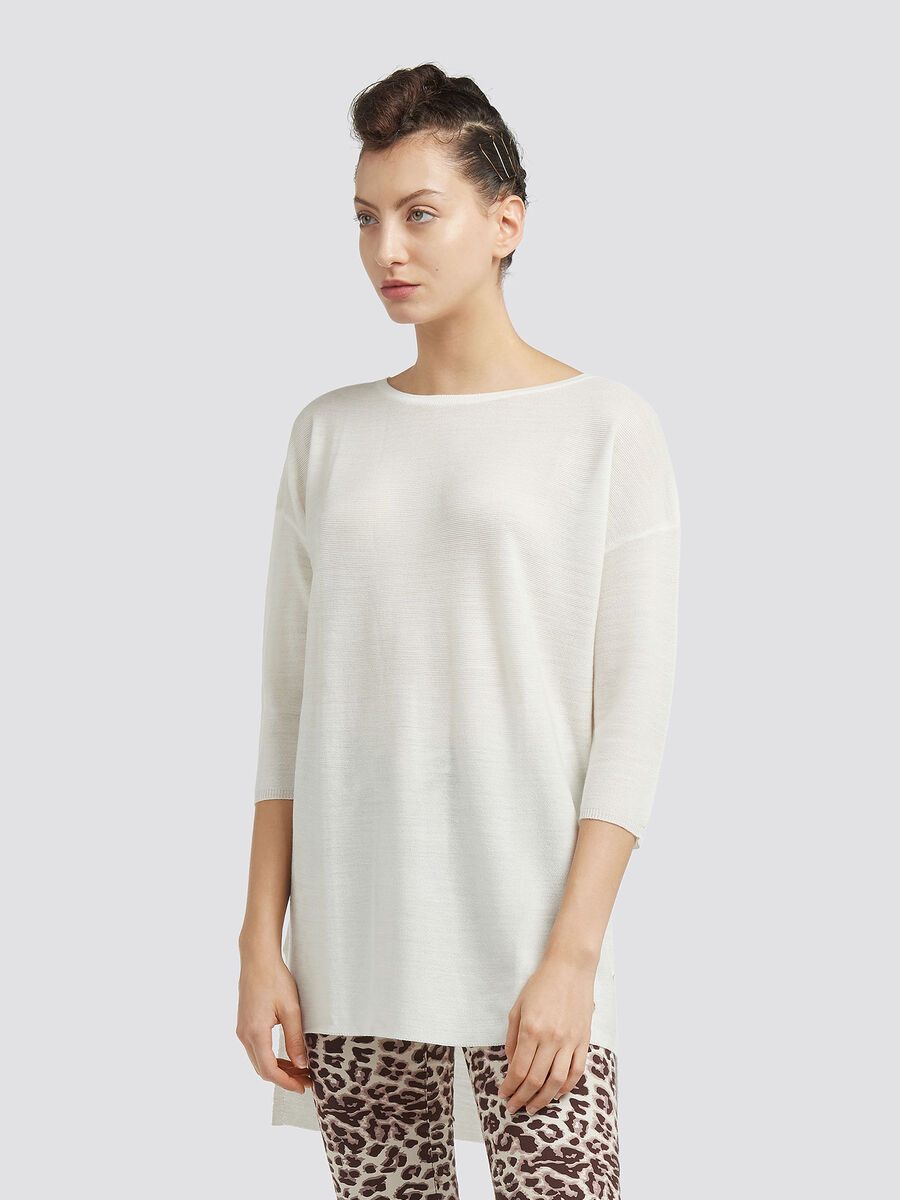 Asymmetrical wool pullover