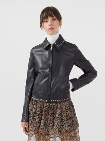 Regular fit faux leather jacket with studs