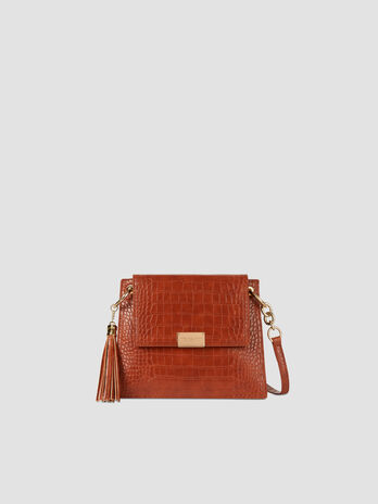 Small crossbody bag in crocodile print faux leather
