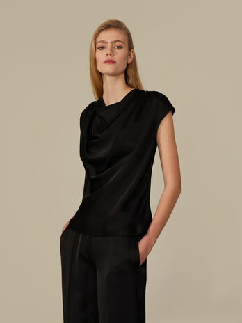 Regular-fit draped satin blouse