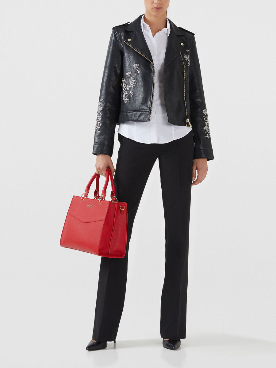 Medium Charlotte top handle bag in faux leather