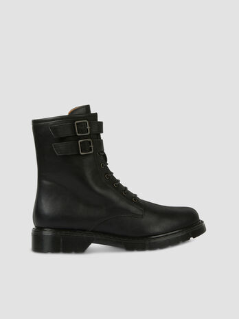 Faux leather combat boots with straps