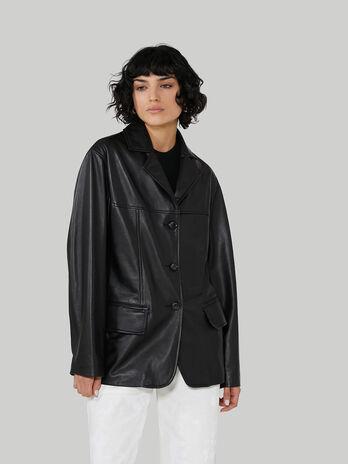 Jacke aus leicht glaenzendem Glattleder