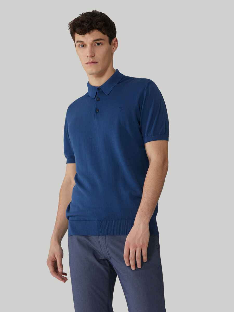 Short-sleeved cotton polo-shirt with buttons