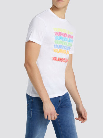 Regular fit jersey T shirt with colourful lettering