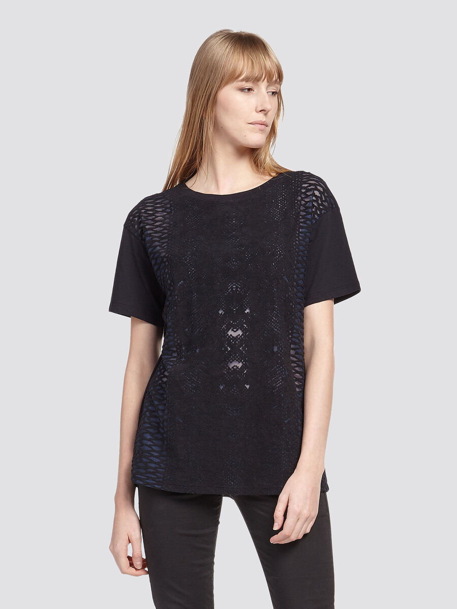Pure cotton T shirt with burnt out print