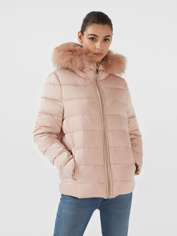 Steppjacke im Regular Fit aus Nylon mit Pelz