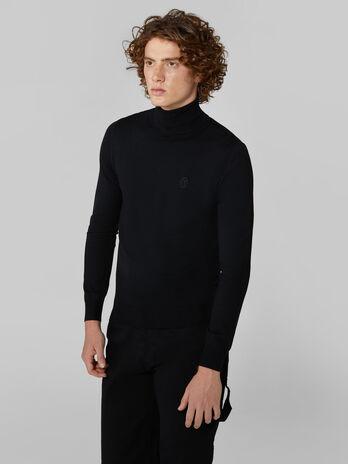 Slim fit viscose blend polo neck pullover