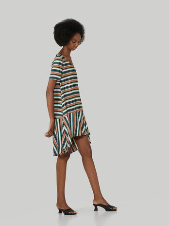 Asymmetrical striped twill dress