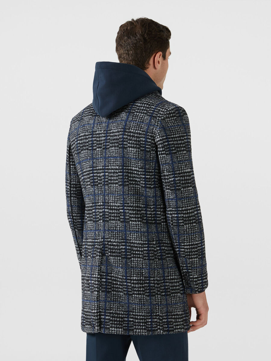 Regular fit chequered fabric coat
