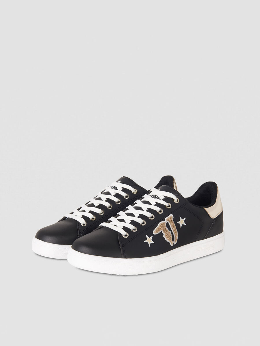 Faux leather sneakers with logo patch
