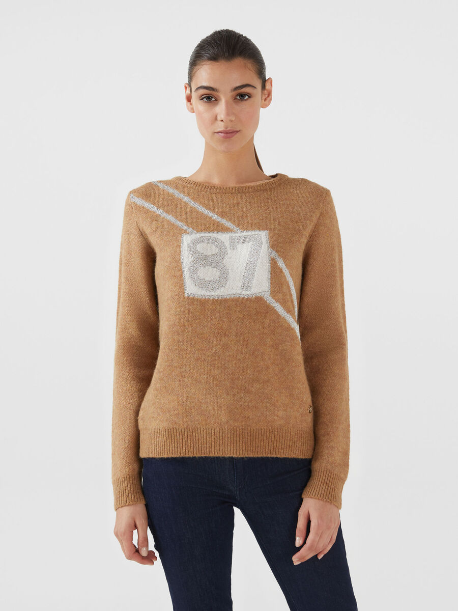 Cropped lurex and mohair blend pullover