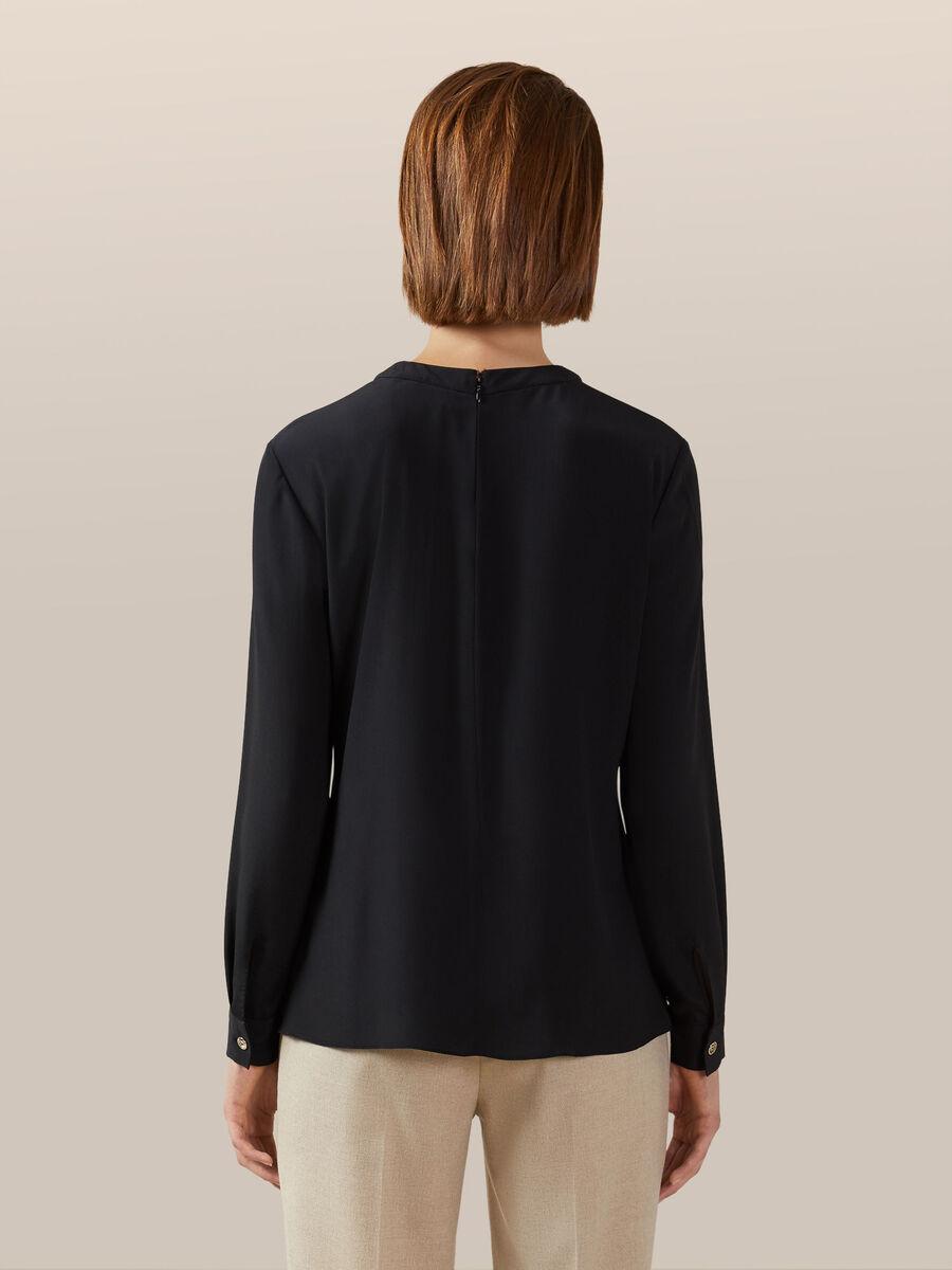 Bluse aus einfarbigem leichtem Crepe