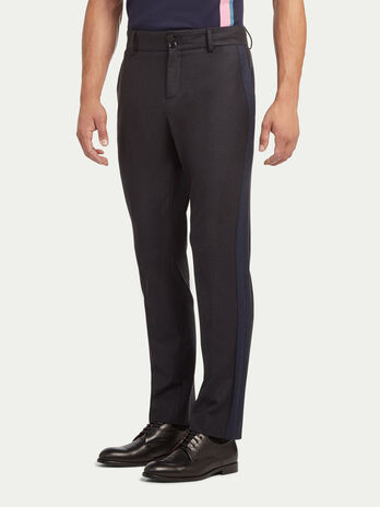 Solid colour cotton and wool trousers