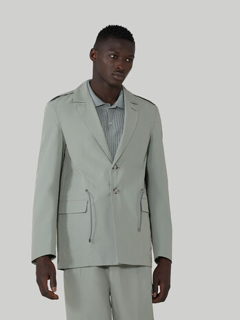 Blazer regular fit in cotone tecnico con coulisse