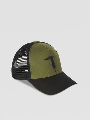 Canvas and mesh baseball cap with logo