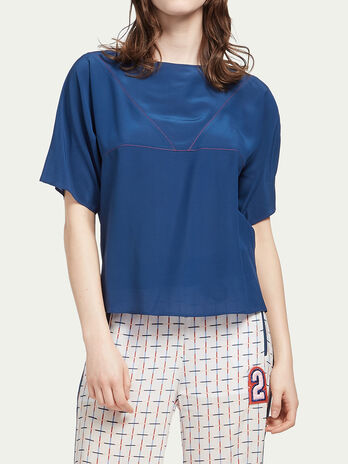 Crepe de chine blouse with stitch detailing