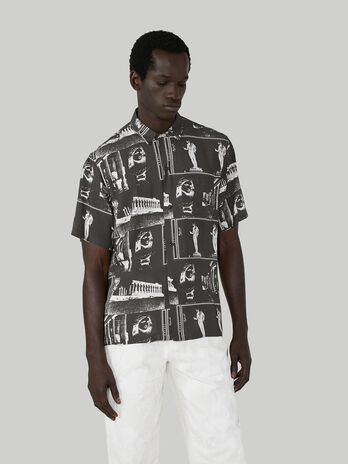 Chemise coupe relaxed en viscose imprimee
