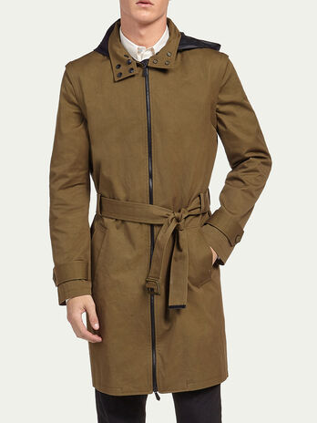 Pure cotton parka with belt