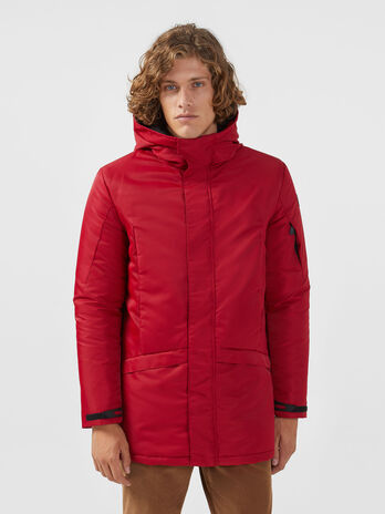 Oversized solid colour nylon satin parka