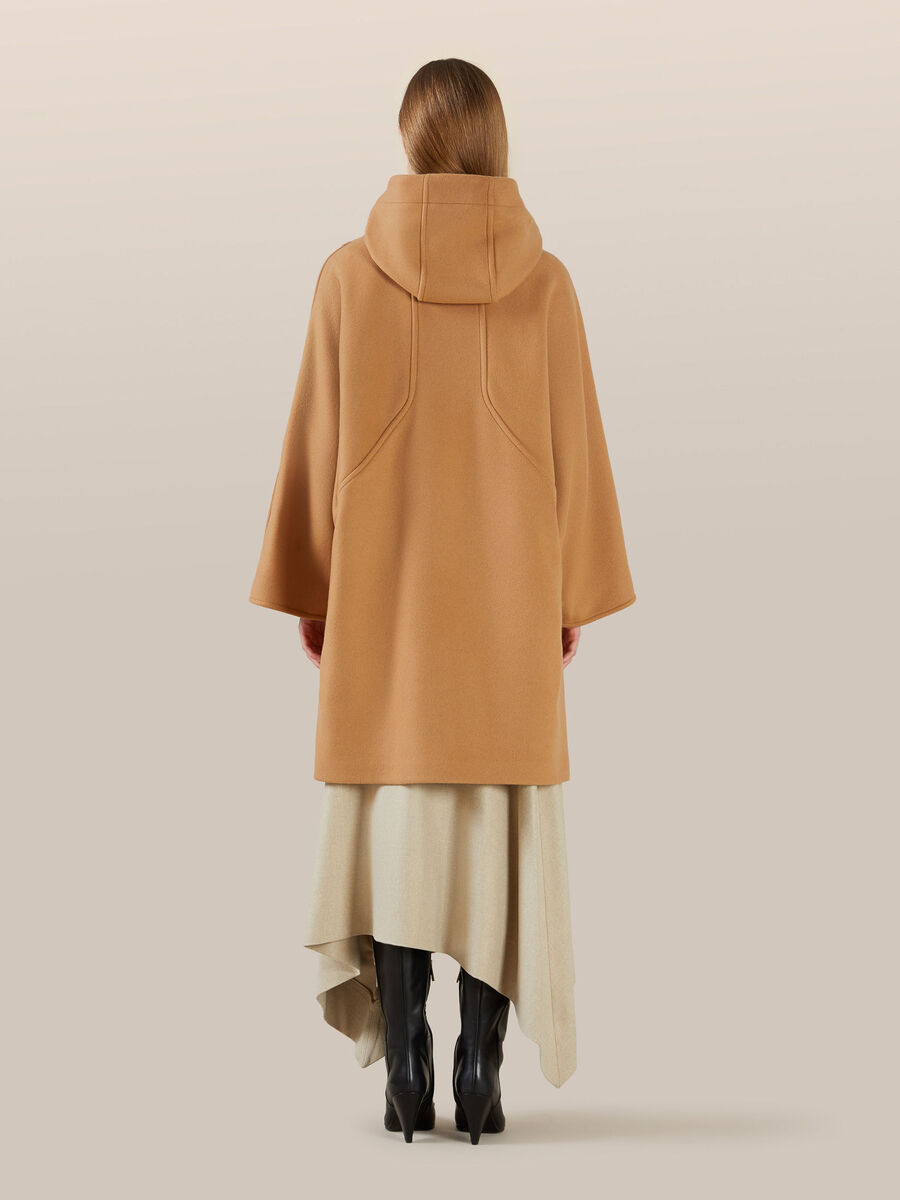 Oversized wool cape with hood