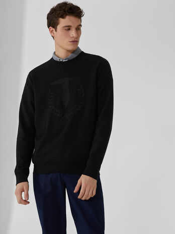 Regular-fit cotton sweatshirt with embroidered logo