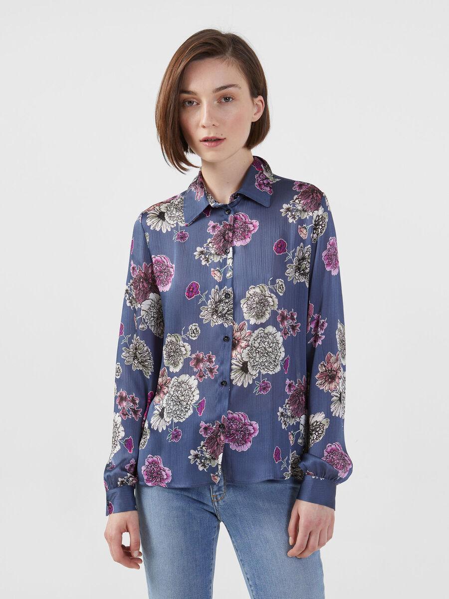 Hemdbluse aus leichtem Satin im Blumenprint