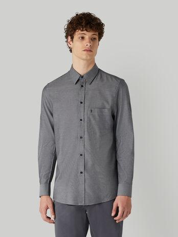Camisa de algodon jacquard con bolsillito