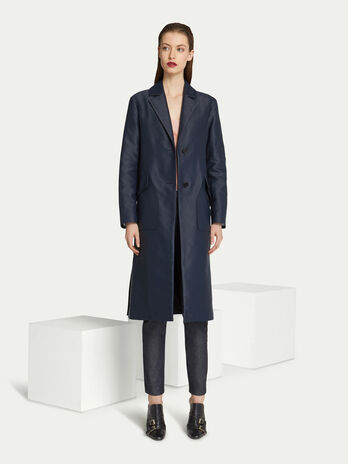 f454dcee35b Regular fit coat in solid colour cotton with half belt