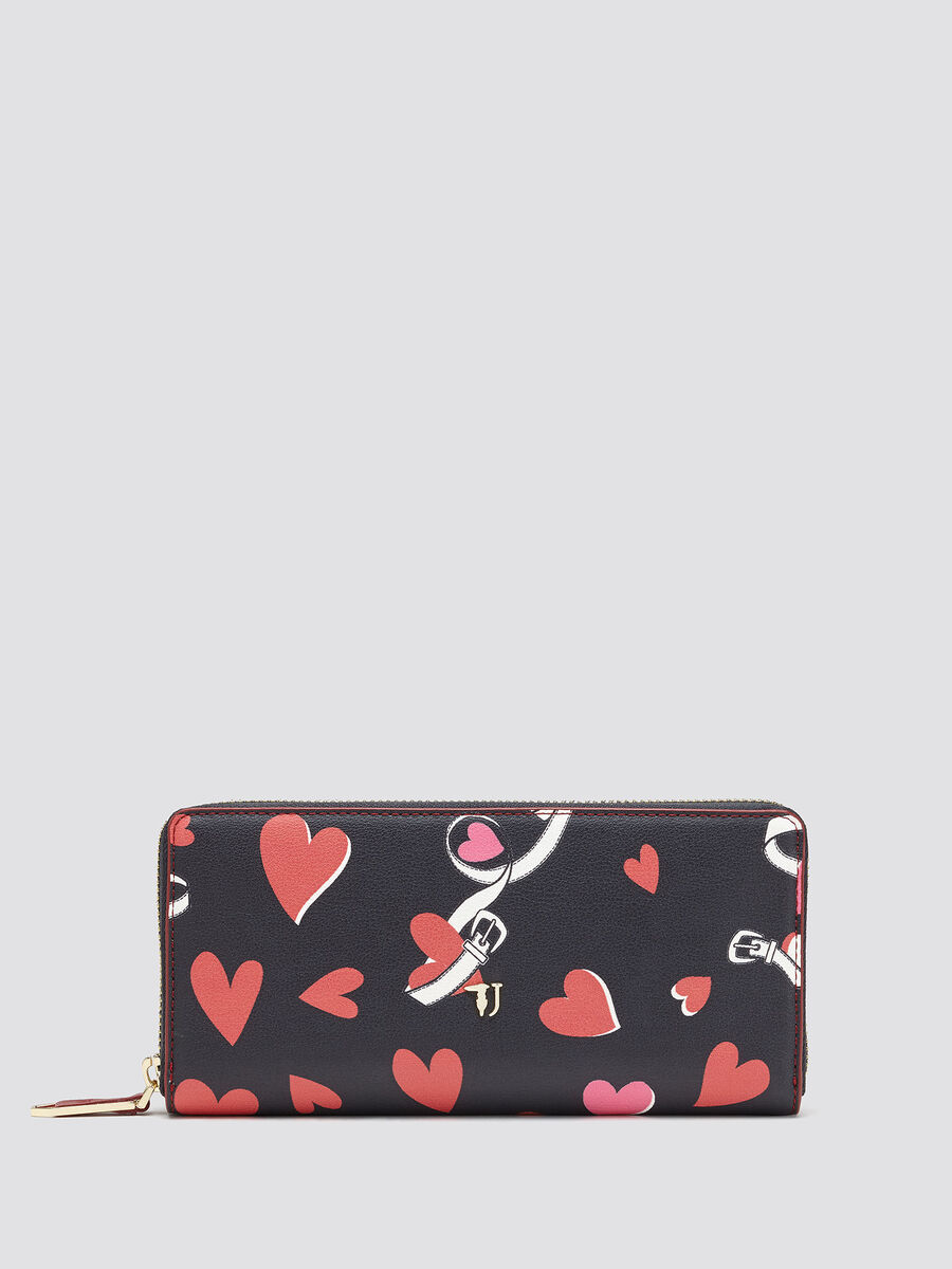 Zip around purse with heart print