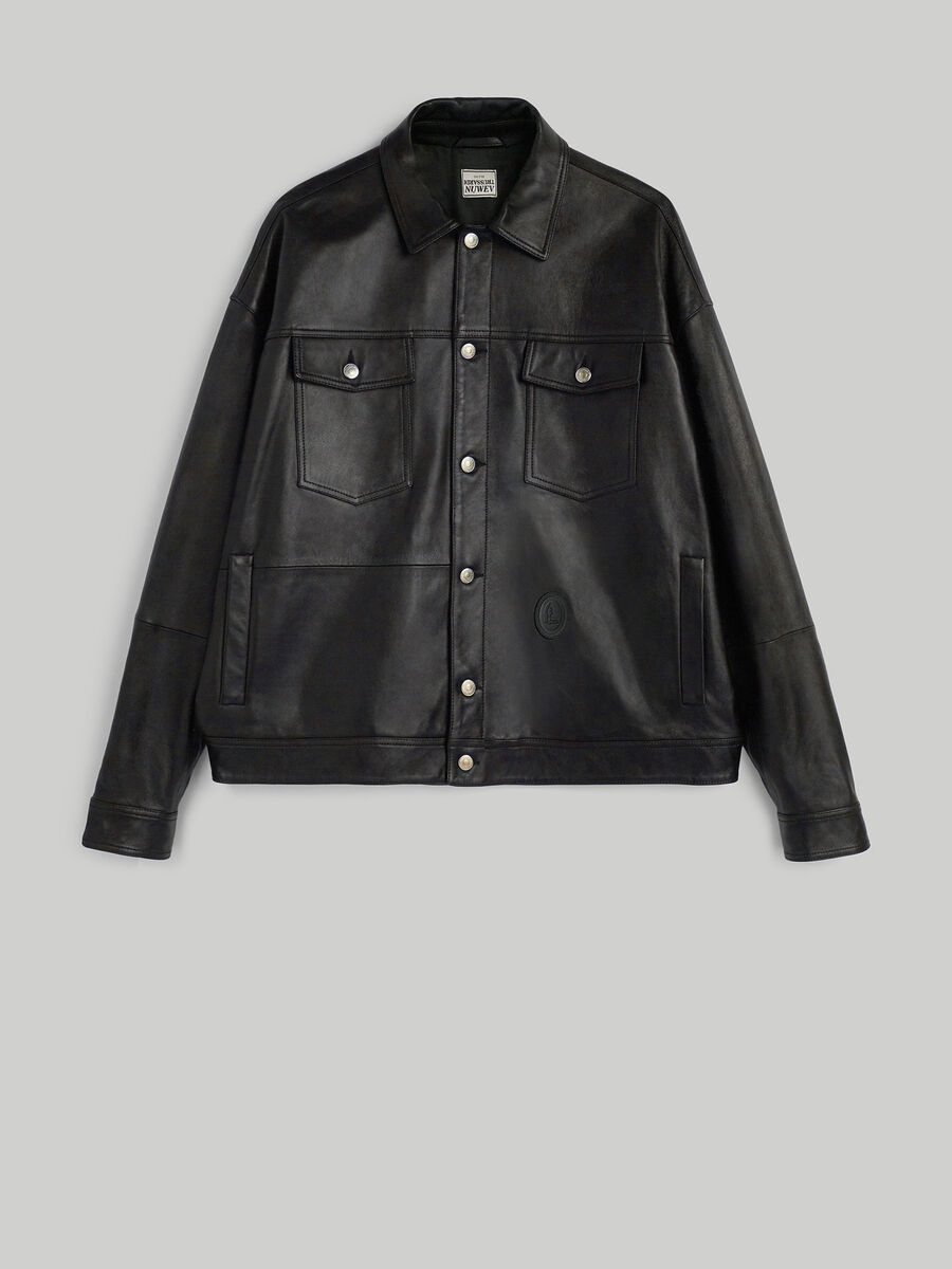 Kansas leather jacket with front pockets