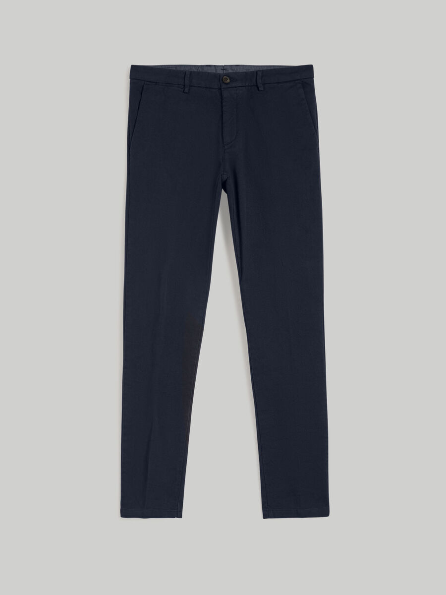 Solid-colour cotton Aviator-fit trousers