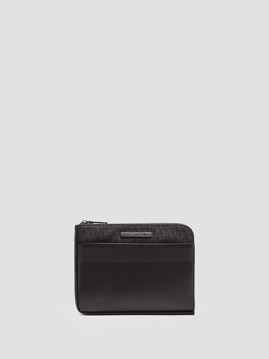 Bocconi pouch bag in branded faux leather