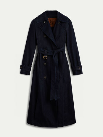 Regular fit denim trench coat