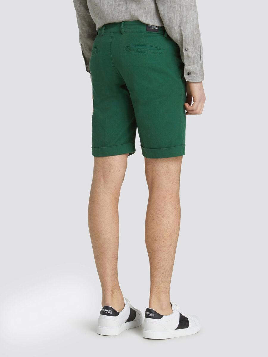 Garment dyed aviator fit Bermuda shorts turn up detail