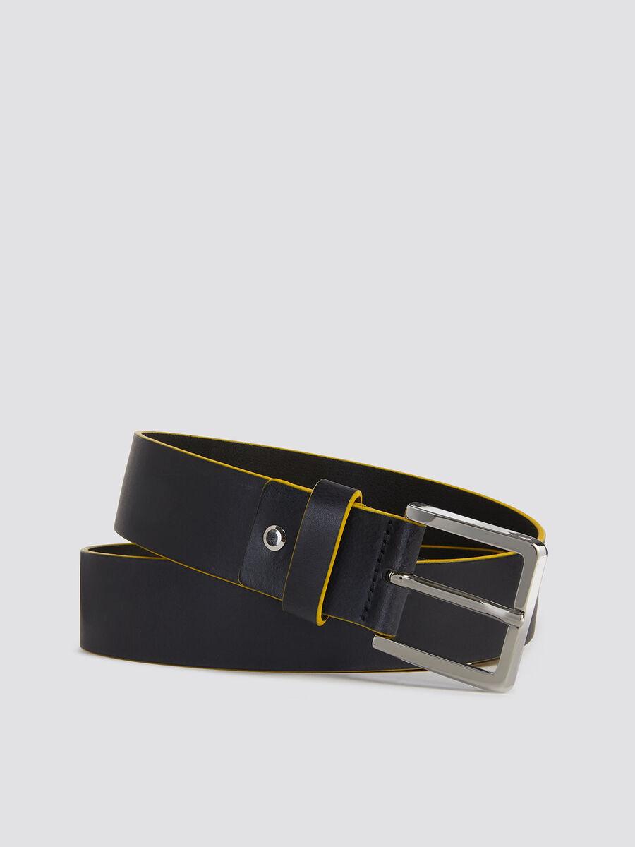 Cinturon Ticinese de piel con parche y detalle de metal