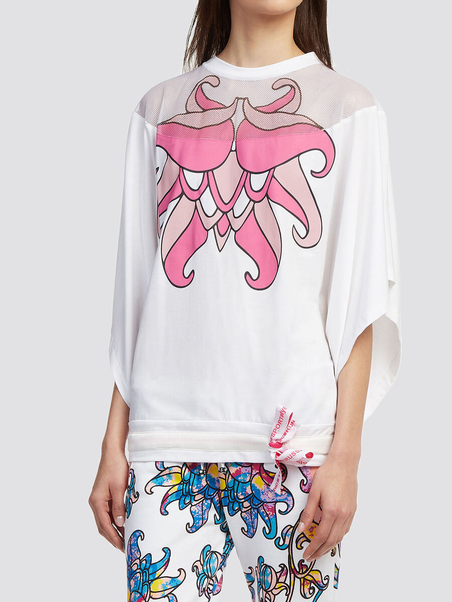 Perforated T shirt with floral print