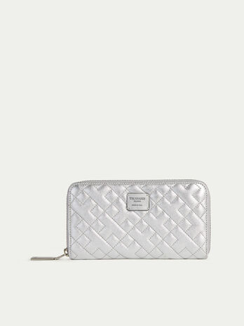 Zip around laminated quilted nappa purse