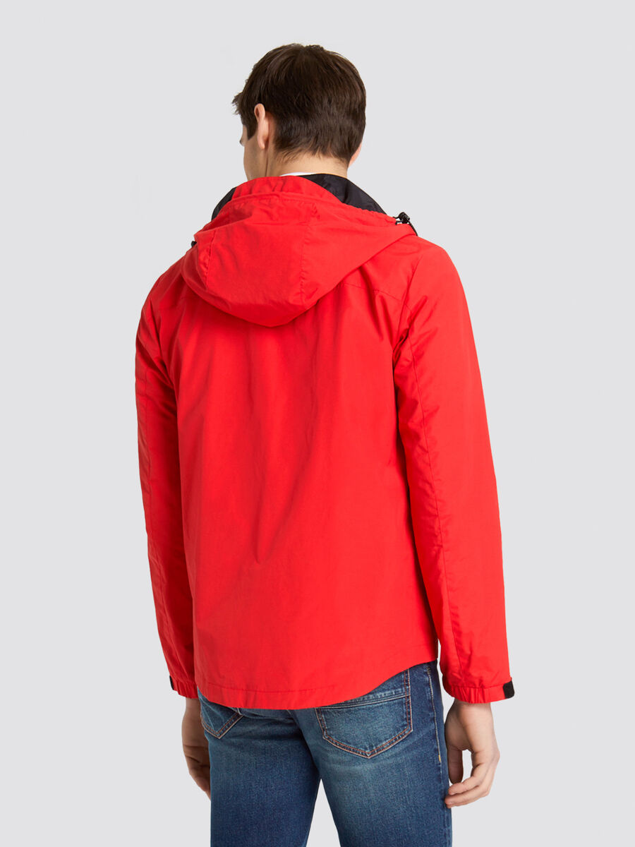 Regular fit nylon jacket with hood and logo