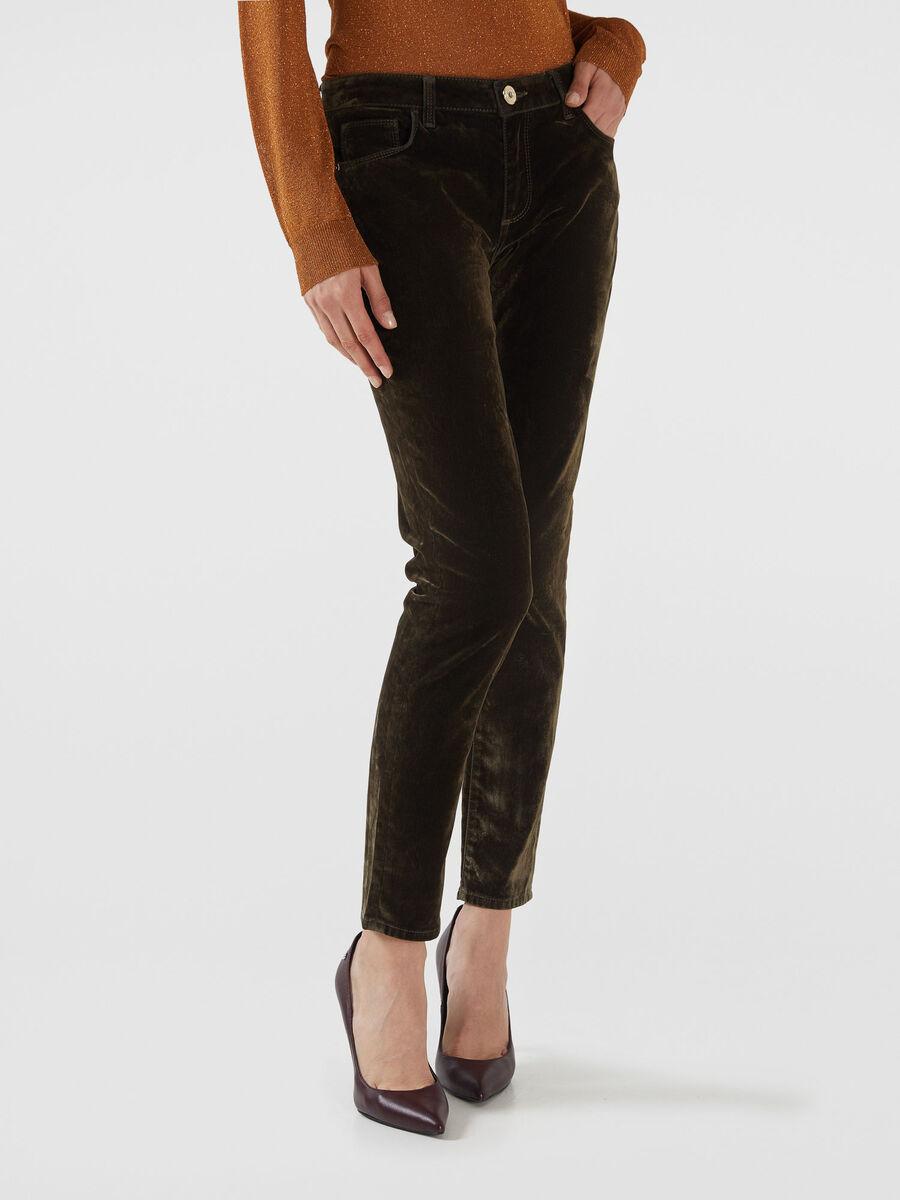 Pantalon 206 super skinny en denim flocado
