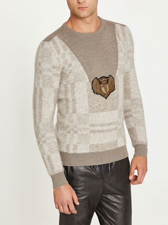 Round neck jacquard sweater in mohair blend