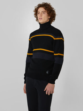 Striped wool and alpaca polo neck pullover
