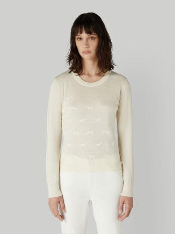 Pullover in pura lana con levrieri ricamati