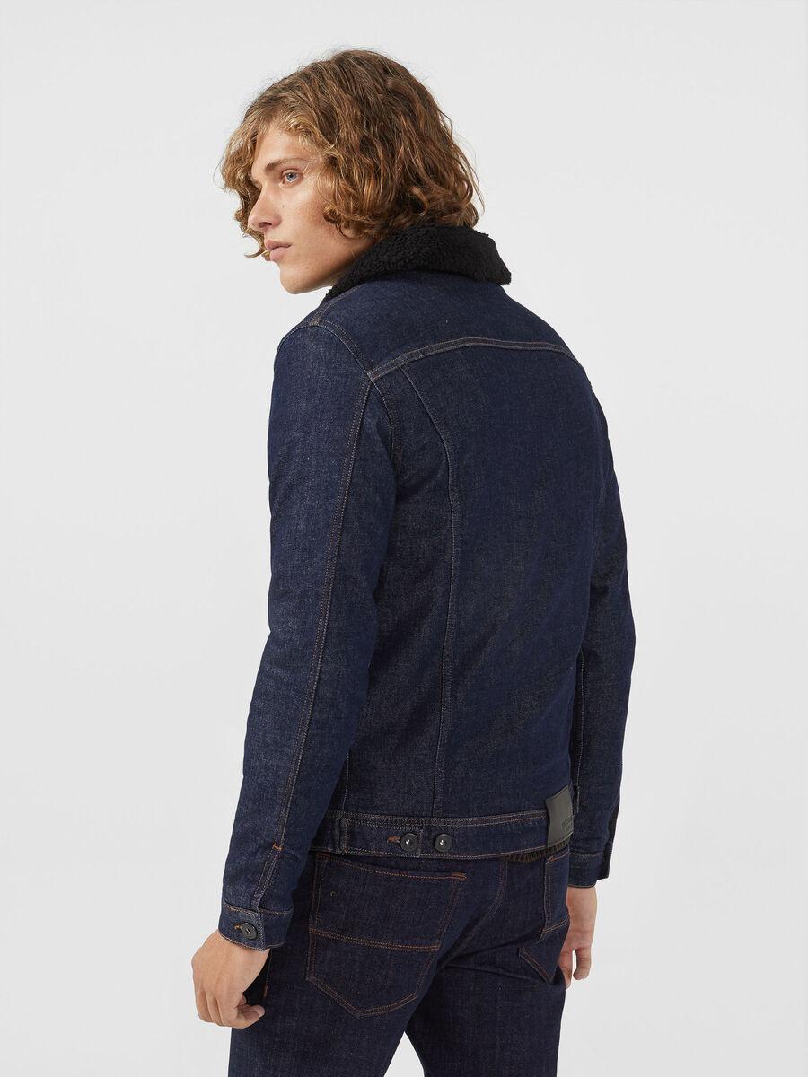 Blouson en jean avec polaire contrastant
