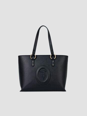Medium faux saffiano leather Lisbona shopper